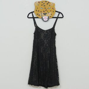 Lucca Couture Blk Lace Silver Lining Slip Dress